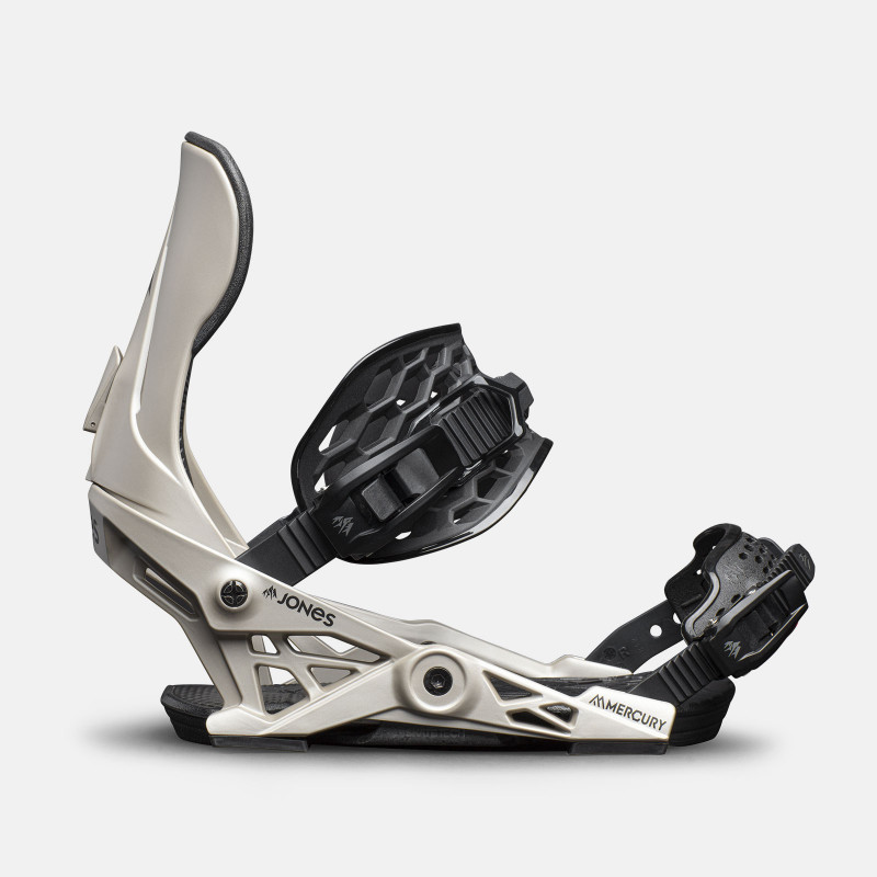 Jones Mercury Snowboard Bindings featuring SkateTech, shown in gray color, side view