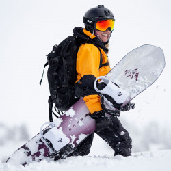 Anto Galmez with the Jones Women's Stratos snowboard and white Meteorite bindings