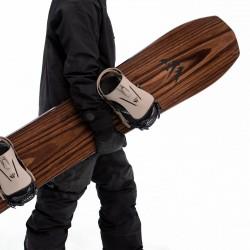 Jones Men's Flagship Snowboard, close up detail with Jones bindings